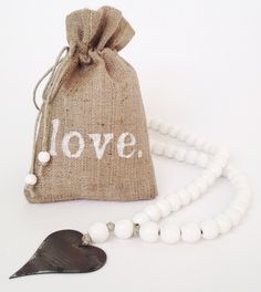 Image of Love Beads for the home - Original Style in White with Heart-1