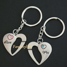 2 Heart-shape Keychains. the style is nice and good looking for couples or for personal use.