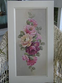 Use this idea to decoupage pretty gift wrap onto cabinet doors Shabby Chic Homes, Shabby Chic Style, Shabby Chic Decor, Coming Up Roses, Rose Art, Hand Painted Furniture, Tole Painting, Cottage Chic, Flower Art