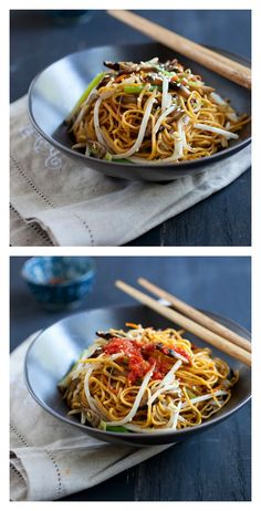 Vegetable chow mein: vegan friendly, easy, healthy, quick, and dinner is ready in 15 minutes. Learn this simple recipe at http://rasamalaysia.com
