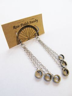 Recycled Jewelry Bike Chain Circle Earrings by RosePedalsJewelry