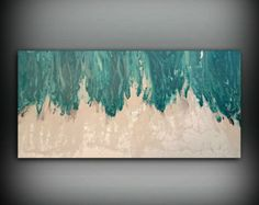 "Art Painting Acrylic Paintings XL / Extra LARGE Abstract Canvas Art Teal Home Decor Wall Art Beach painting by LDawningScott 30 x 60"" by ldawningscott. Explore more products on http://ldawningscott.etsy.com"