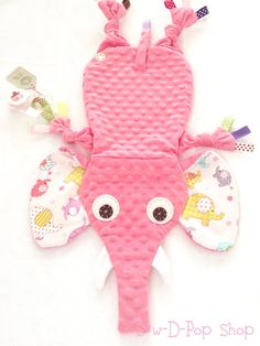 Elephant Baby Blanket lovey Toy Pacifier Clip by SewDPopShop