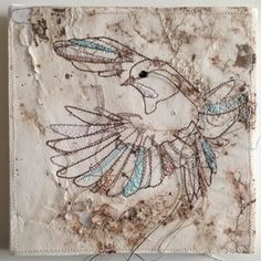 Birds textile Artwork. artist Marloes Duyker. in colection at Studiodewinkel.nl