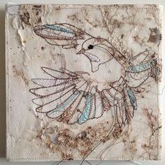 Birds textile Artwork. artist Marloes Duyker. in colection at Studiodewinkel.nl