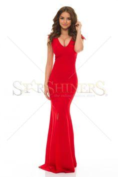 LaDonna Classy Shoulders Red Dress