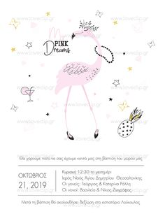 MY PINK DREAM  Προσκλητήριο με  εξωτικό fashion φλαμίνγκο, πεταλούδες και ανανά. Baptism Invitations, Invitation Ideas, Girls, Pink, Toddler Girls, Daughters, Maids, Pink Hair, Roses