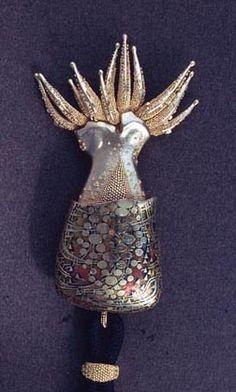 john paul miller.silver.cephalopod.silver, gold, enamel