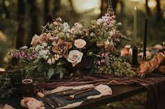 tablescape in the woods