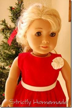 "Strictly Homemade: Holiday Dress Pattern for 18"" Doll"