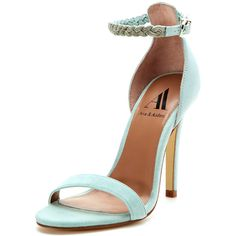 Ava & Aiden Pipa Two-Piece High Heel Sandal ($49) ❤ liked on Polyvore featuring shoes, sandals, heels, zapatos, high heel sandals, ankle strap shoes, ankle strap sandals, metallic leather sandals and metallic sandals