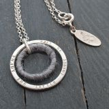 Personalised Silver & Wool Circle Necklace - Gemwaith wyn jewellery