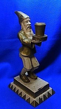 Antique German Wood Carved Santa Gnome Candle Holder