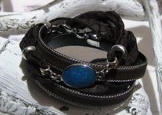 Wickelarmband Leder Seidenband dunkelbraun blau von ChaPu auf DaWanda.com