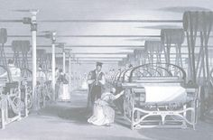 A cloth weaving factory, early 1800s