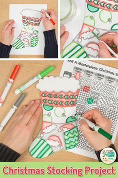 Decorate your bulletin board with these christmas stockings. Fill up your art sub plans folder with Christmas Art For Kids, Christmas Art Projects, Christmas Arts And Crafts, Winter Art Projects, Easy Art Projects, Arts And Crafts Projects, Christmas Activities, Arts And Crafts For Adults, Arts And Crafts House