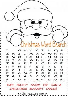 Free Printables Easy Christmas Word Search For KidsChristmas Coloring Pages Preschoolfree Activities Scramble Kids