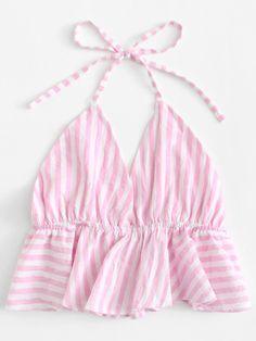 Striped Frill Hem Open Back Crop Halter TopFor Women-romwe Teen Fashion Outfits, Diy Fashion, Trendy Outfits, Cool Outfits, Fashion Dresses, Fashion Design, Sewing Clothes, Diy Clothes, Halter Crop Top
