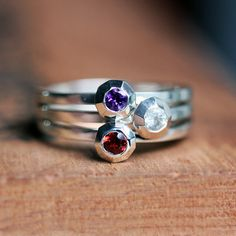 Stacking birthstone mothers rings