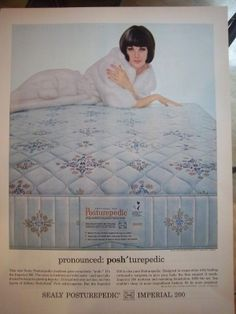 1964 Vintage Sealy Posturepedic Imperial 200 Bed Mattress Woman Fur Lingerie Ad | eBay by frenzy