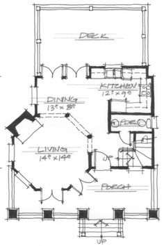 Allison Ramsey Architects | Floorplan for Windy Gap Tree House - 1064 sqaure foot house plan # NC0024