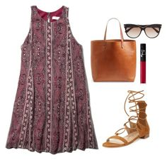 """""""printed dress"""" by kcunningham1 ❤ liked on Polyvore featuring Abercrombie & Fitch, Stuart Weitzman, Madewell, Tom Ford and NARS Cosmetics"""