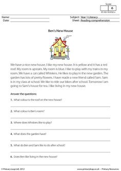 PrimaryLeap.co.uk - Reading comprehension - Ben's New House Worksheet