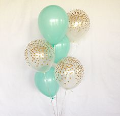 Mint and Gold Latex Balloons ~ Baby Shower ~ Bridal Shower Balloons ~ Mint Balloons ~ Clear with Gold Confetti Look Balloon ~ Birthday Party