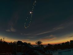 """The sun's """"movement"""" over a year.  Documenting this figure 8 path is called an analemma in astonomy.  Science is so cool."""