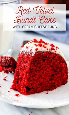 valentinesday cake This red velvet bundt cake is moist and tender with the perfect red velvet flavor thanks to just a hint of cocoa powder. Its topped with cream cheese glaze, and looks truly stunning with its beautiful red cake crumb. from Just So Tasty Red Velvet Bundt Cake, Red Cake, Bunt Cakes, Cupcake Cakes, Cupcakes, Just Desserts, Dessert Recipes, Dessert Bread, Cake Decorating Store