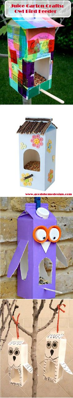 Juice Carton Crafts: Bird Feeder, I can finally make use of the almond milk containers!