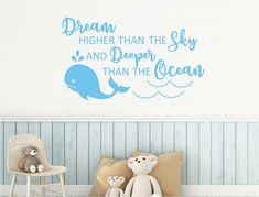 Dream deeper than the ocean whale wall sticker Wall Sticker Design, Dream High, Childrens Wall Stickers, Beautiful Dream, Nursery Wall Decor, Whale, Color Schemes, Ocean, Colours