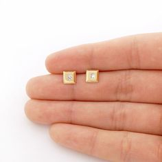 These cute and dainty stud earrings are crafted in yellow and white gold, the square shaped studs are safely secured with baby screwback closure. Small Gold Hoop Earrings, Gold Earrings Designs, Gold Jewellery Design, Necklace Designs, Gold Jewelry, Stud Earrings, Studs For Men, Jenga Blocks, Diamond Mangalsutra