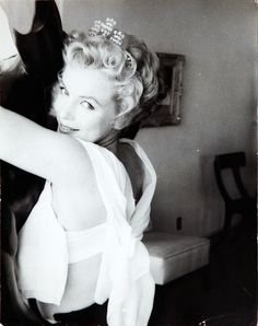 Marilyn Monroe in a tiara, photographed by Milton Greene, 1956.