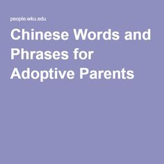 Chinese Words and Phrases for Adoptive Parents