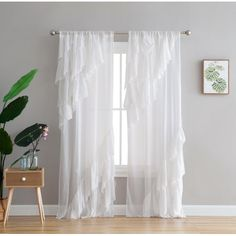 Shop for Peach & Oak Astrea Ruffle White Rod Pocket Single Curtain Panel. Get free delivery On EVERYTHING* Overstock - Your Online Home Decor Outlet Store! Window Treatment Store, Window Treatments, Cool Curtains, Window Curtains, Room Window, Living Room Decor Curtains, Bedroom Decor, Decorative Curtain Rods, Curtain Styles