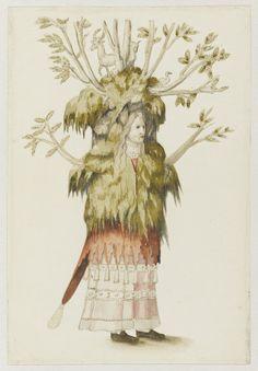 Entourage de Francesco Primaticcio dit Primatice, personnage costumé en bosquet ou en forêt. paris, musée du Louvre, département des arts graphiques. DR.