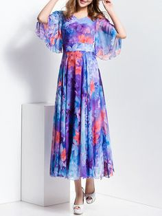 Swing Floral-print  Beach Frill Sleeve Maxi Dress