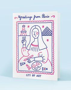 Carte Letterpress de Paris/illustration Steffie Brocoli