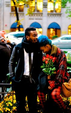 Sule and Rachel, Chicago her: Flannel (thrifted), Tube Scarf, (H&M) Plaid Pants (Forever 21) him: Black leather sleeve coat (Zara), tube...