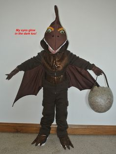 Two Free Dinosaur Halloween costume patterns... Pterodactyl and Triceratops ~ Pegs Gotta Do