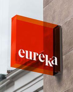 London-based designer created the identity for Euréka, a restaurant specialising in sous-vide cooking, a method in which… Signage Design, Cafe Design, Branding Design, Menu Design, Stationery Design, Design Design, Stand Design, Booth Design, Design Model