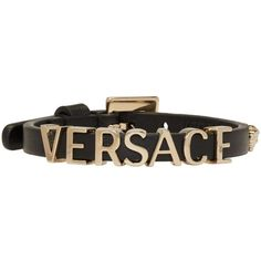 Versace Black Leather Logo Bracelet ($325) ❤ liked on Polyvore featuring jewelry, bracelets, black, versace jewellery, versace jewelry, pin jewelry, carved jewelry and charm bangles