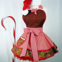 Storybook Gingerbread Holiday Womens Hostess Apron