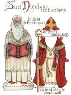 Lekker vintage, deze Sinterklaas aankleedpop! Sint Nicolaas met tabberd mantel mijter boek werkblad
