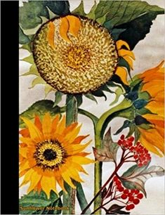 Sunflower Notebook  - Do It Yourself undated college ruled lined diary,  lightweight,