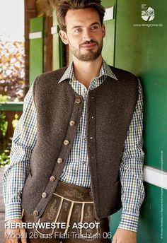 Modell des Monats November 2017 5 Lederhosen, Ascot, Traditional Outfits, Knit Crochet, Knitting Patterns, Men Sweater, Vest, Pullover, Tank Tops