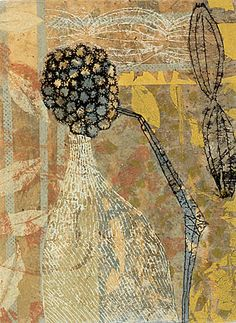 Eva Isaksen - Works on Paper - Winter Seeds I. creates tactile expressions that coalesce colors, textures, and symbols using a rich and intricate mixed media surface composed of dried pigments, clay and powdered marble.