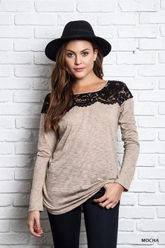 Long sleeve top with lace neckline