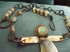 Untamed - hand made chain, old Venetian iridescent trade beads and rutiled quartz and labradorite sculpture necklace